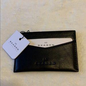 Skagen Denmark Anne-Marie Leather Flap Clutch Wallet in Espresso